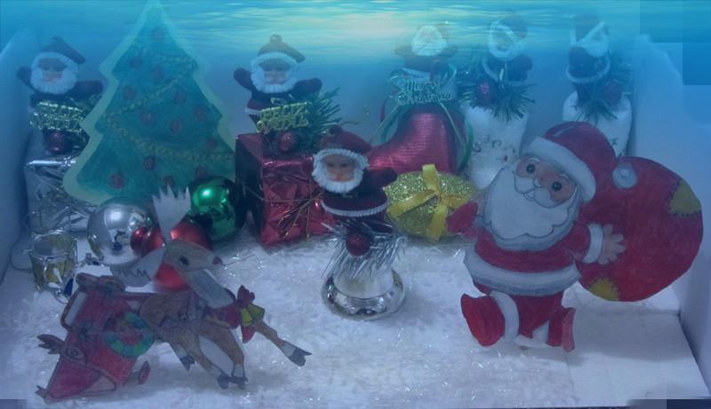 【圣诞节手工作品】+一幅立体的圣诞老人送礼物画