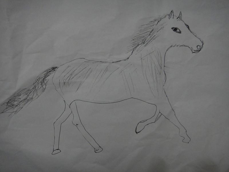 就不怎么样,但是我们已经很满足了,宝宝在那里告诉我,马马,爸爸画的马