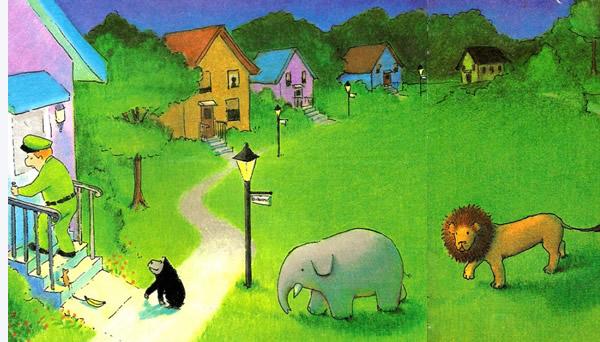 晚安绘本  小老鼠,大猩猩,大象,大狮子…一众动物跟着管理员