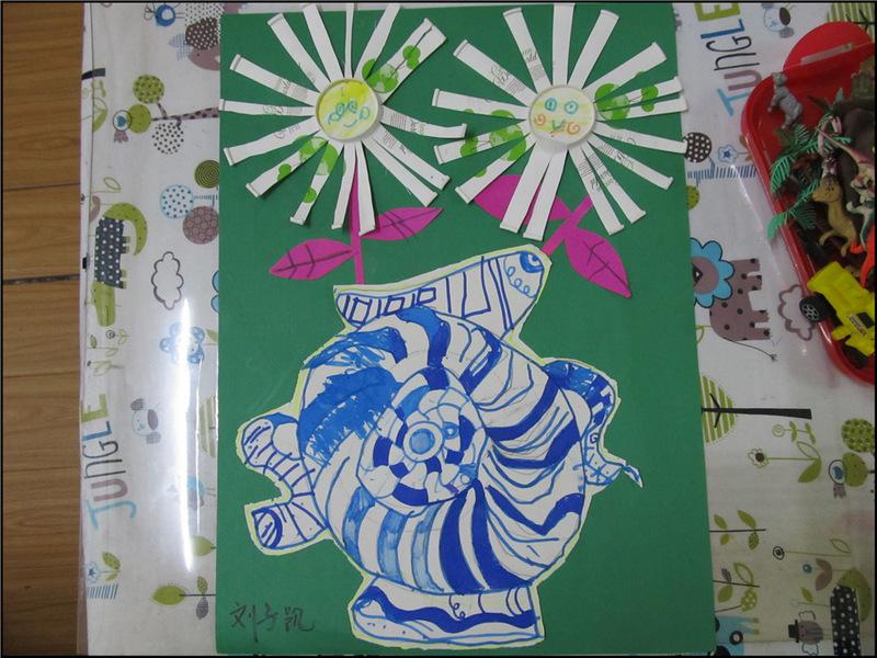 抽象派手工绘画作品 青花瓷