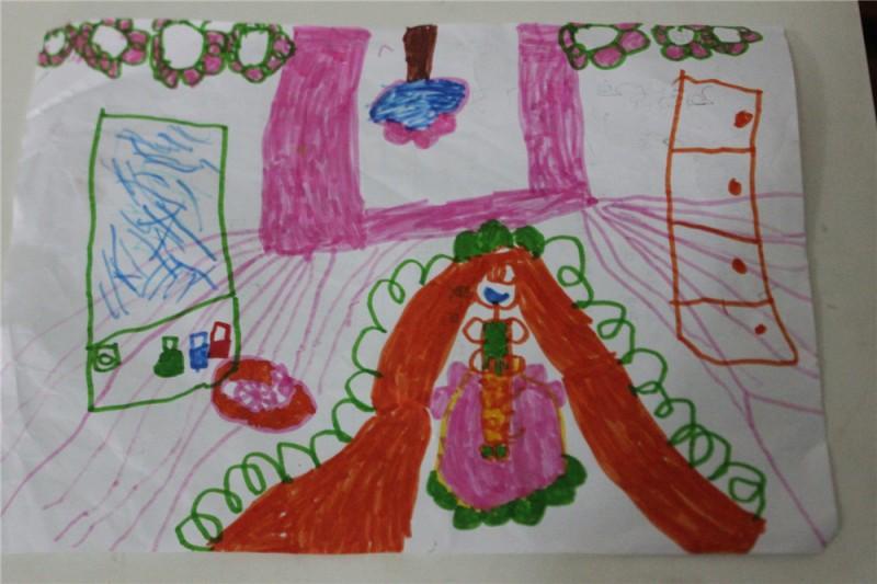 乐佩公主有一只可爱的小粉兔,瞧,小粉兔正躺在铺着桔色茸毛的小窝里呼呼大睡呢。 乐佩公主的上方有一棵类似小树的吊灯,周围粉色的是灯池。灯池周围还吊着很多美丽的玫瑰花。 右边绿色的长方形是乐佩公主的化妆镜。镜子下方的瓶瓶罐罐是乐佩公主的化妆品。比如眼影、口红,指甲油,还有粘假睫毛用的专业胶枪呢。别看外边只有三瓶化妆品,抽屉里还有好多化妆品呢。 现在大家再来看她们家的窗户。那些橙色的小点点是窗户的把手,是用来推开窗户的。 画面上的粉色条条是地板。 好了,我的冰棍吃完了,故事也讲完了。