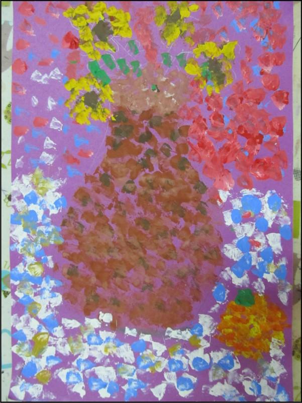 初学水粉画,涂色类写生 桔子和太阳花
