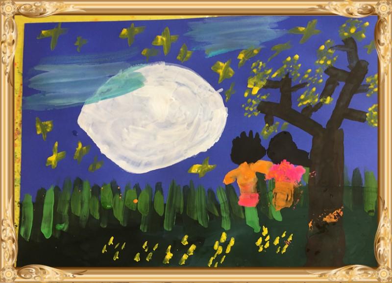 创意美术第三节课—水粉画——月圆之夜