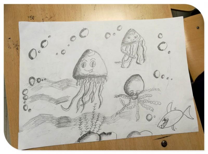 宝贝铅笔画 水母
