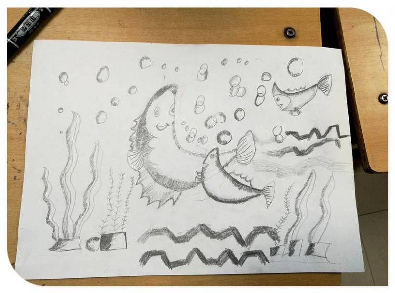 宝贝铅笔画 鱼