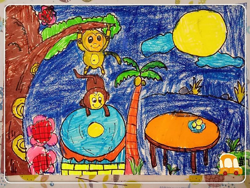 饼节主题绘画 猴子捞月