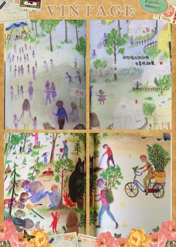 书中人类破坏森林后的污浊与之前森林的清新形成了鲜明的对比,让人触目惊心之后深刻反思,这样的画面感带给人的震撼更具体而生动,让读者让孩子们更切身体会到保护环境的重要性,也许一颗环保的小种子就这样在孩子幼小的心灵里种下了。这样一本环保题材的绘本,全书没有一个保护森林保护环境的字眼,但那种强烈的环境保护意识却深深的印在了每个读者的心中。