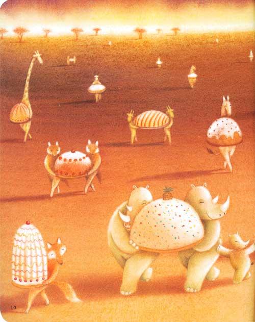 所有的小动物都拿着自己认为的美味蛋糕来参赛