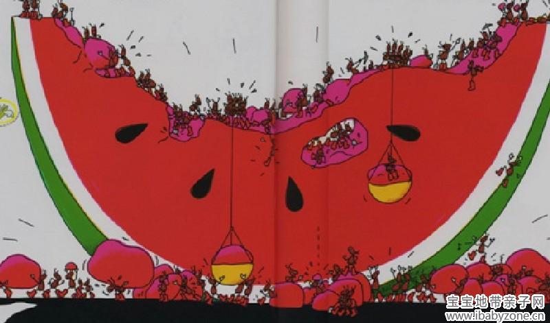 《蚂蚁和西瓜》小蚂蚁也有大力量!图片