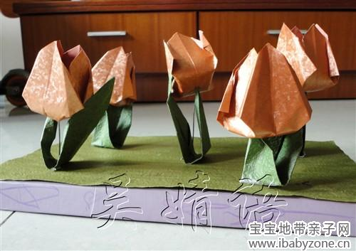 皱纹纸百合折法图解
