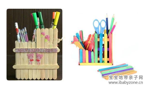 用冰糕棍做个多功能笔筒