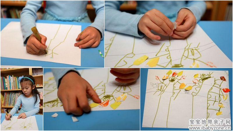 注: 1、孩子的画,思索的时间很短,下笔的速度很快,貌似不假思索。 2、树叶印画的详细做法,见以前的文章(亲子手工:树叶印画)。 3、无论是大树、树干还是树枝、鸟窝和小鸟,都有很多表现手法,比如可以用颜料,可以用纸或布裁剪拼贴等,dudu做的只是适合她自己年龄和动手能力的简单做法。