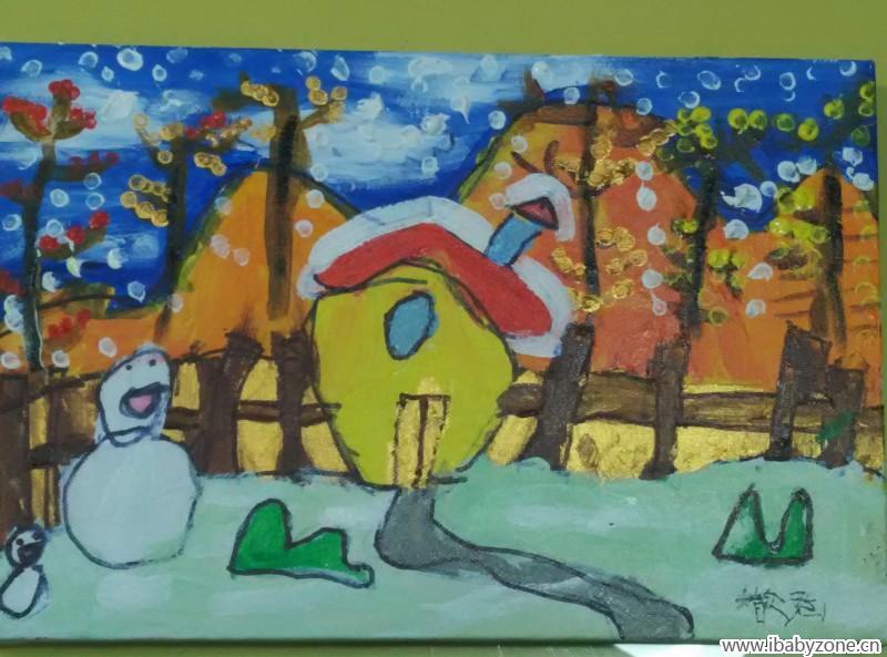 首页 育儿论坛 童真童趣 手工diy 丙烯画——冬天来了  右下角是宝贝