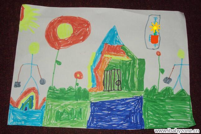 我会画画——彩虹房子