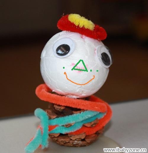 这个松果小雪人儿,哈哈,也还算可爱吧.