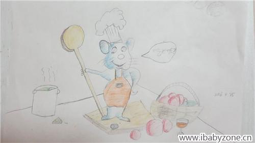 风绘画课堂 爱劳动的小老鼠视频 宝宝作品