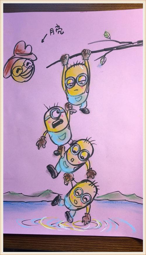 今天大家一起来画画小黄人吧,可爱有趣,而且他们好像在水里捞什么东西