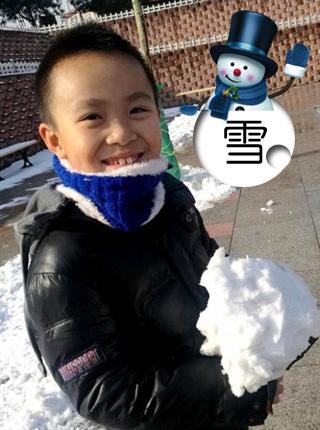 美丽雪景,快乐孩